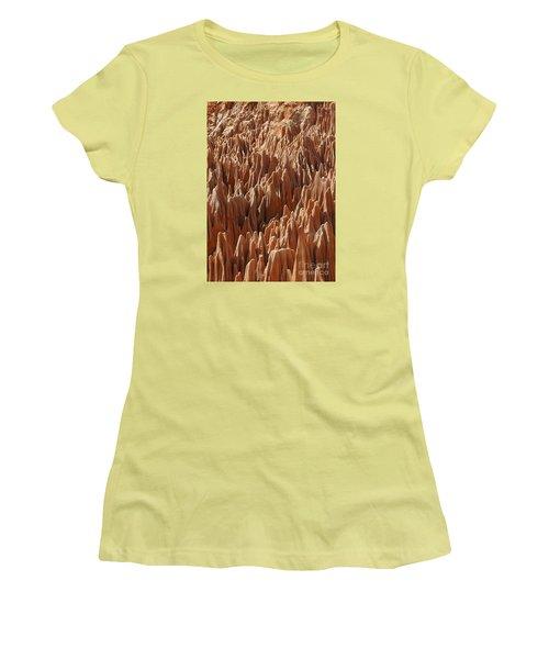 red Tsingy Madagascar 3 Women's T-Shirt (Junior Cut) by Rudi Prott