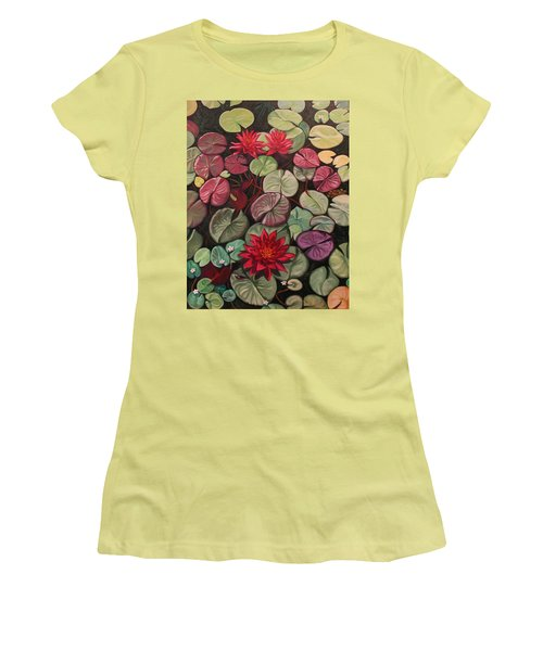 Red Water Lilies Women's T-Shirt (Athletic Fit)