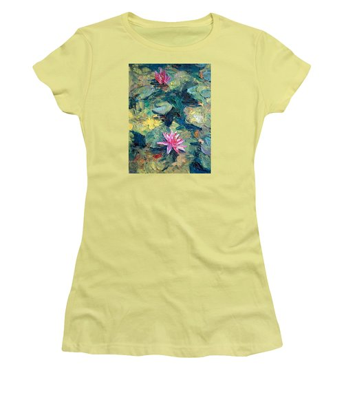Women's T-Shirt (Junior Cut) featuring the painting Red Waterlily  by Jieming Wang