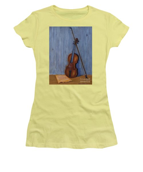 Resting Violin Women's T-Shirt (Athletic Fit)