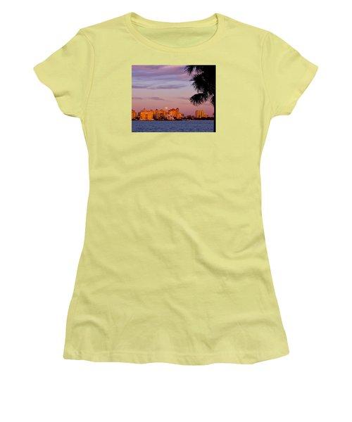 Rising Full Moon Sunset Sarasota Cityscape Women's T-Shirt (Athletic Fit)