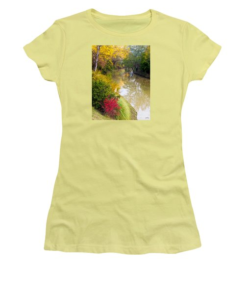 River With Autumn Colors Women's T-Shirt (Athletic Fit)