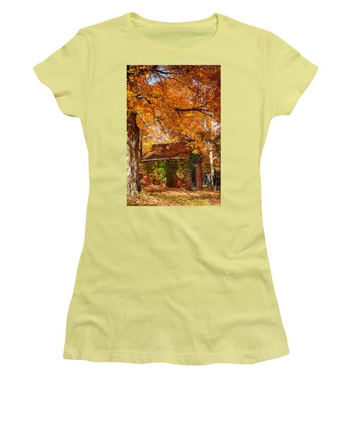 Women's T-Shirt (Junior Cut) featuring the photograph Rock Of Ages Surrouded By Color by Jeff Folger