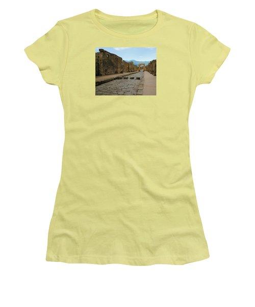Roman Street In Pompeii Women's T-Shirt (Junior Cut) by Alan Toepfer