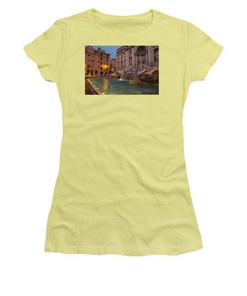 Rome's Fabulous Fountains - Trevi Fountain At Dawn Women's T-Shirt (Junior Cut) by Georgia Mizuleva