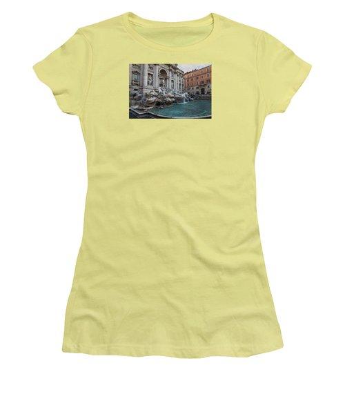 Rome's Fabulous Fountains - Trevi Fountain - No Tourists Women's T-Shirt (Junior Cut) by Georgia Mizuleva