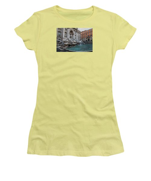 Rome's Fabulous Fountains - Trevi Fountain - No Tourists Women's T-Shirt (Athletic Fit)