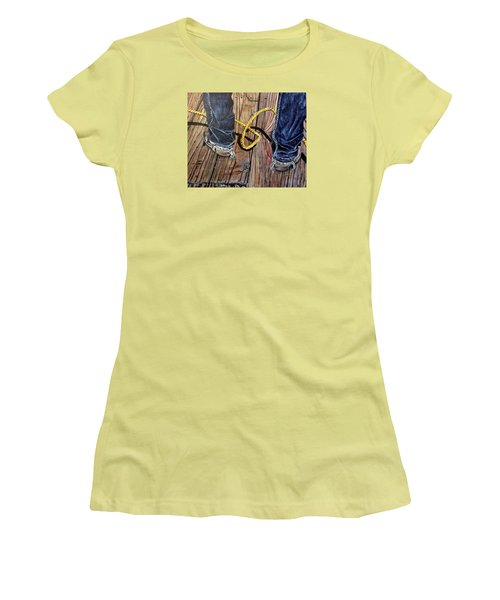 Roping Boots Women's T-Shirt (Junior Cut) by Marilyn  McNish