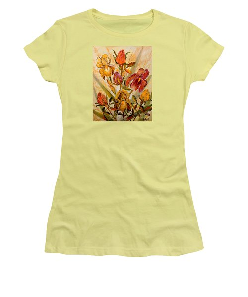 Women's T-Shirt (Junior Cut) featuring the painting Roses And Irises by Lou Ann Bagnall