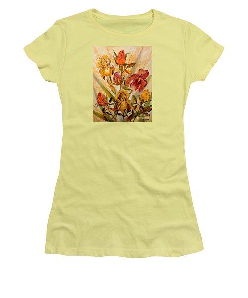 Roses And Irises Women's T-Shirt (Junior Cut) by Lou Ann Bagnall
