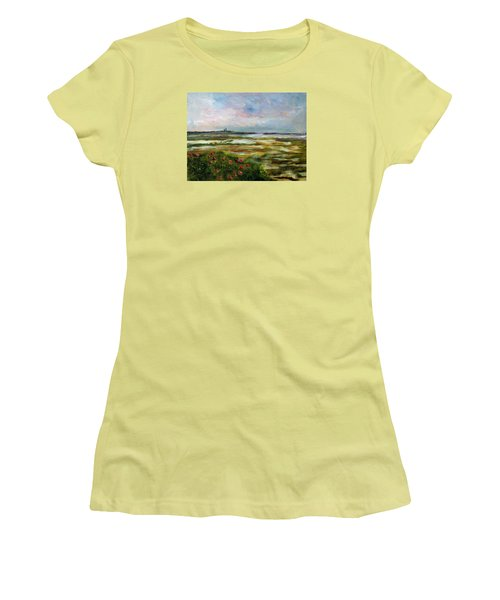 Women's T-Shirt (Junior Cut) featuring the painting Roses Over The Marsh by Michael Helfen