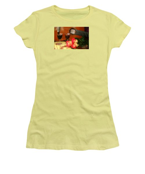 Women's T-Shirt (Junior Cut) featuring the photograph Guitar 'n Roses by The Art of Alice Terrill
