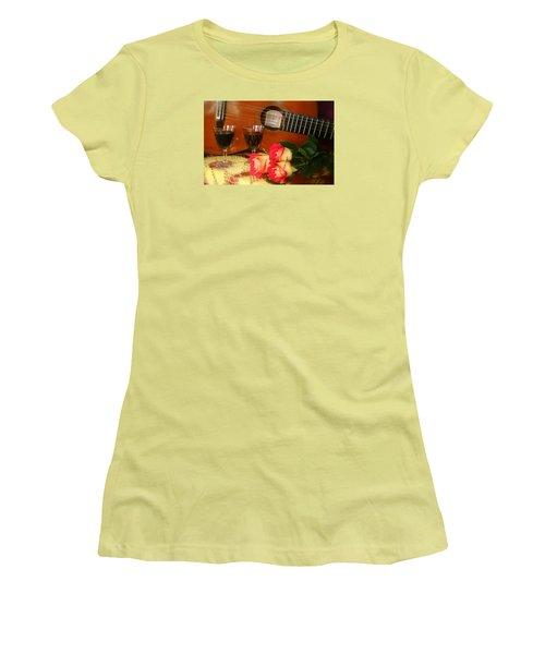 Guitar 'n Roses Women's T-Shirt (Junior Cut) by The Art of Alice Terrill