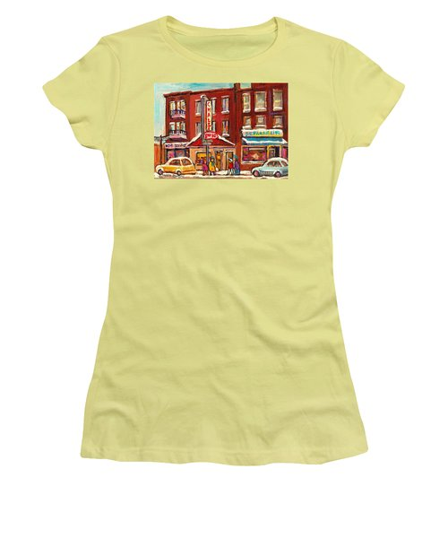 Rotisserie Le Chalet Bar B Q Sherbrooke West Montreal Winter City Scene Women's T-Shirt (Junior Cut) by Carole Spandau