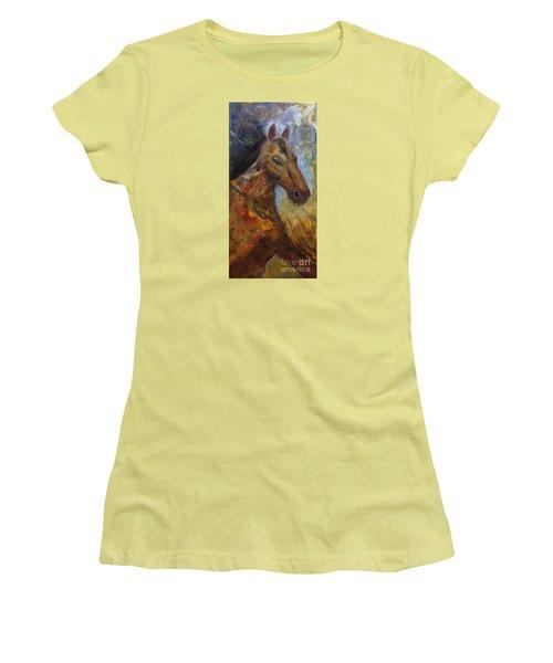 Run Wild Run Free Women's T-Shirt (Junior Cut) by Gail Butters Cohen