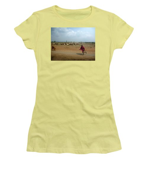 Running Boy Women's T-Shirt (Athletic Fit)