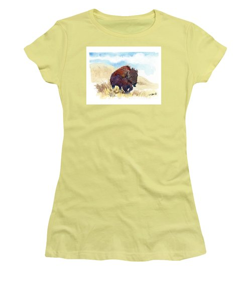Women's T-Shirt (Junior Cut) featuring the painting Running Buffalo by C Sitton