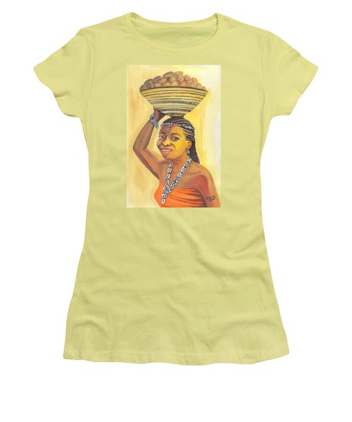 Women's T-Shirt (Junior Cut) featuring the painting Rural Woman From Cameroon by Emmanuel Baliyanga
