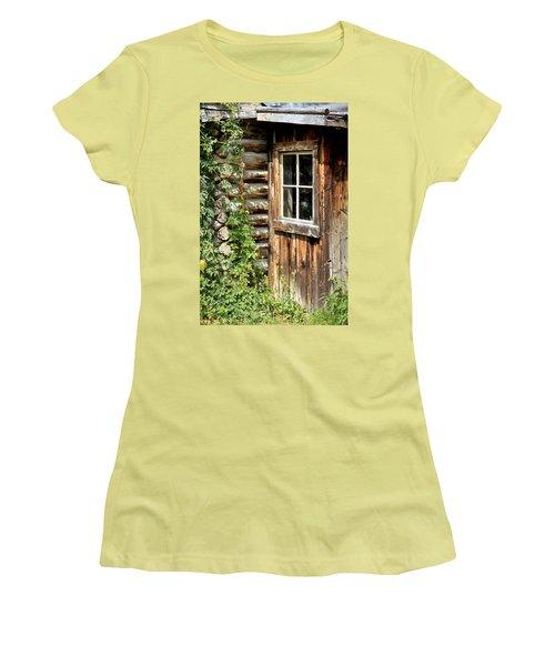 Rustic Cabin Window Women's T-Shirt (Junior Cut) by Athena Mckinzie