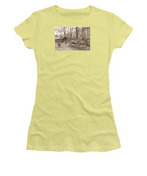 Rustic Wagon Women's T-Shirt (Junior Cut) by Debbie Green