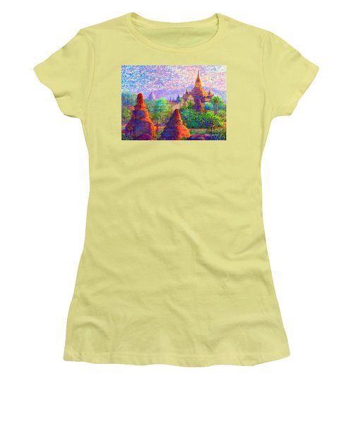 Women's T-Shirt (Junior Cut) featuring the painting Bagan, Burma, Sacred Spires by Jane Small