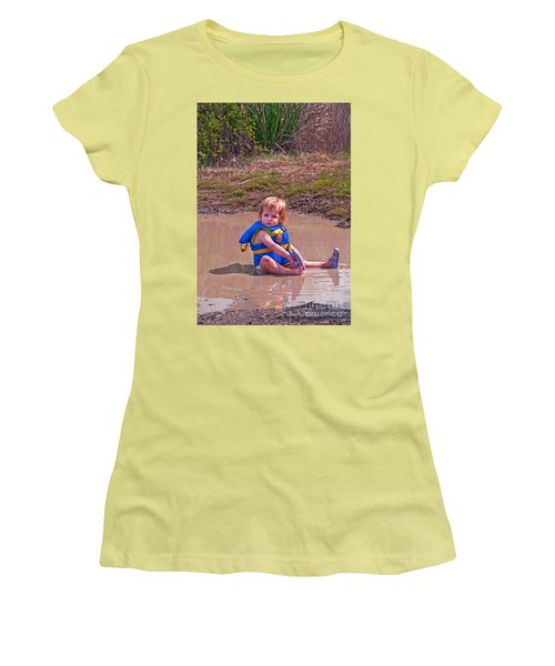 Women's T-Shirt (Junior Cut) featuring the photograph Safety Is Important - Toddler In Mudpuddle Art Prints by Valerie Garner