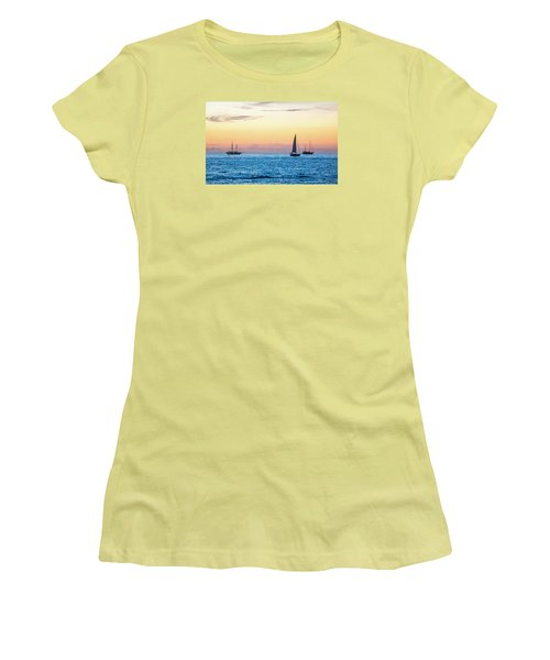 Sailboats At Sunset Off Key West Florida Women's T-Shirt (Junior Cut) by Photographic Arts And Design Studio