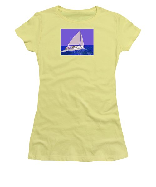 Sailing Blue Ocean Women's T-Shirt (Junior Cut) by Fred Jinkins