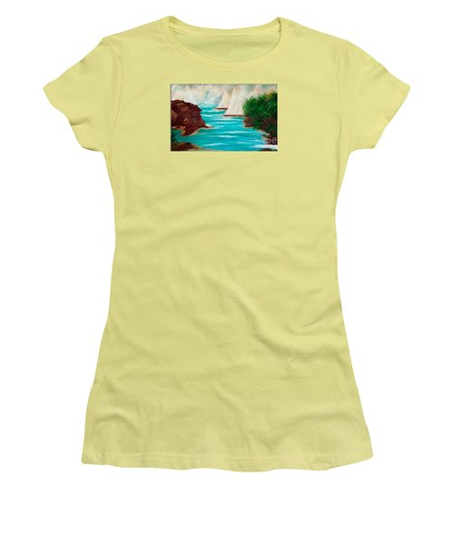 Women's T-Shirt (Junior Cut) featuring the painting Sailing The Coast Of California by Sherri  Of Palm Springs