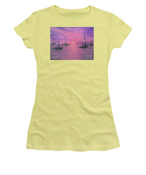 Women's T-Shirt (Junior Cut) featuring the painting Sails At Dusk by Holly Martinson