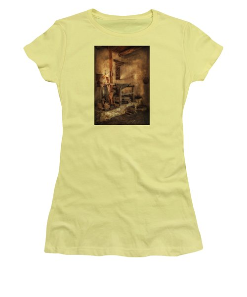 Women's T-Shirt (Junior Cut) featuring the photograph San Jose Mission Mill by Priscilla Burgers