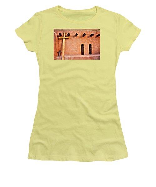Santuario Four Crosses Women's T-Shirt (Junior Cut) by Lanita Williams