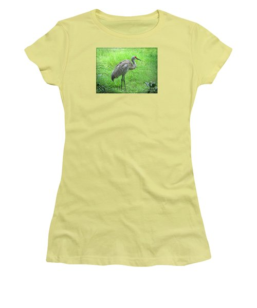 Women's T-Shirt (Junior Cut) featuring the photograph Sandhill Crane - Bird Photography by Ella Kaye Dickey