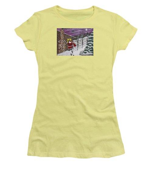 Santa Claus Is Watching Women's T-Shirt (Junior Cut) by Jeffrey Koss