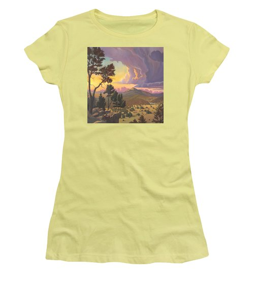 Women's T-Shirt (Junior Cut) featuring the painting Santa Fe Baldy - Detail by Art James West