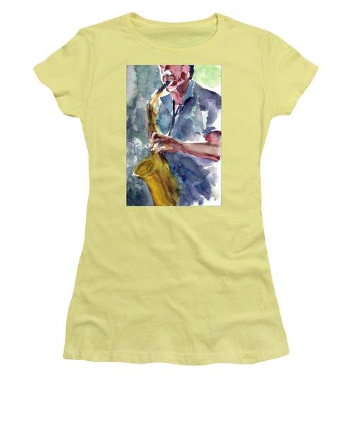 Saxophonist Women's T-Shirt (Junior Cut) by Faruk Koksal