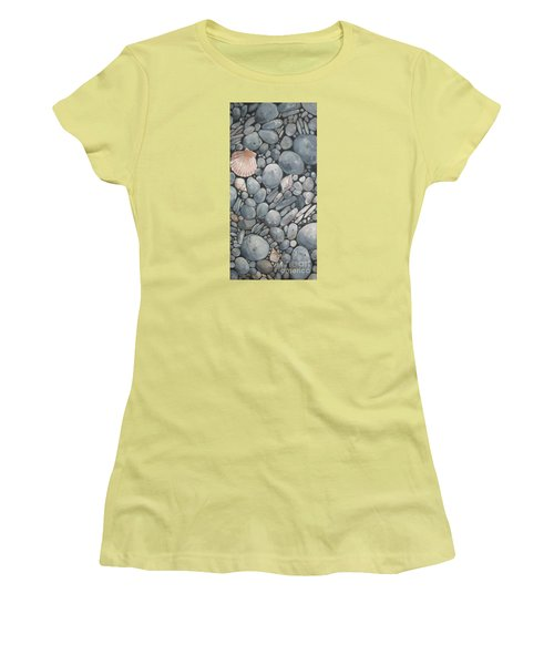 Scallop Shell And Black Stones Women's T-Shirt (Junior Cut) by Mary Hubley
