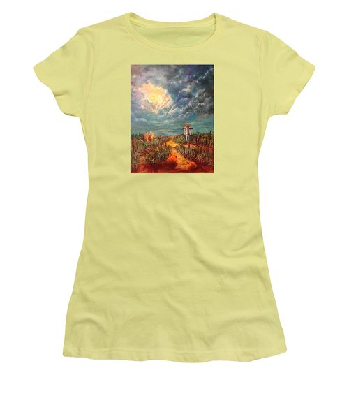 Scarecrow Moon Pumpkins And Mystery Women's T-Shirt (Athletic Fit)