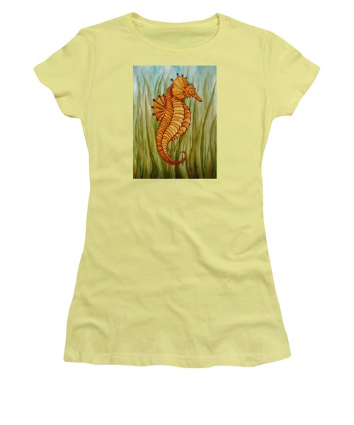 Women's T-Shirt (Junior Cut) featuring the painting Sea Horse by Katherine Young-Beck
