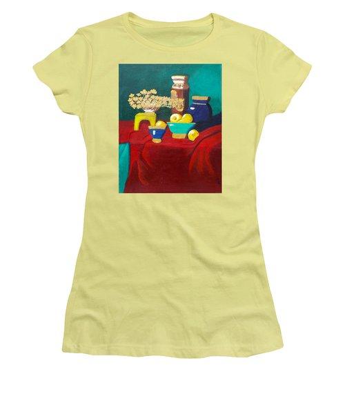 Seafoam Green On Red Velvet Women's T-Shirt (Junior Cut) by Margaret Harmon