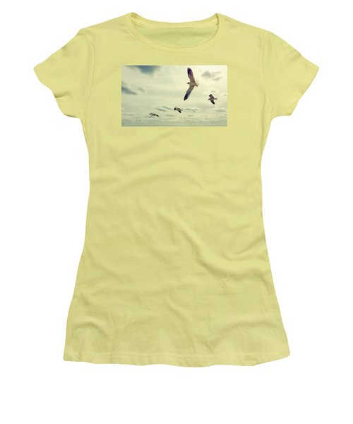 Seagulls In Flight Women's T-Shirt (Athletic Fit)