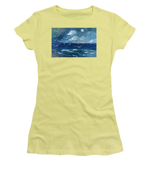 Seagulls Over Adriatic Sea Women's T-Shirt (Athletic Fit)