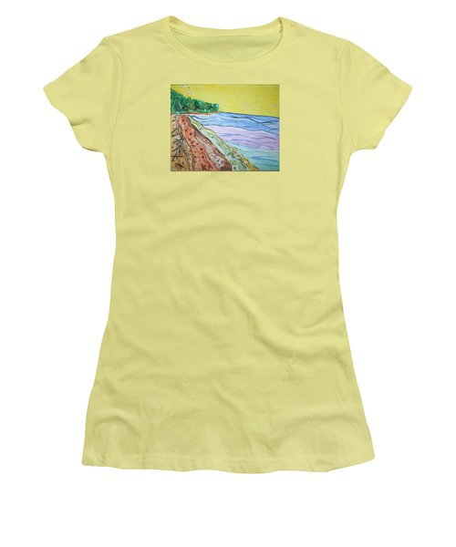 Women's T-Shirt (Junior Cut) featuring the painting Seashore Bright Sky by Stormm Bradshaw