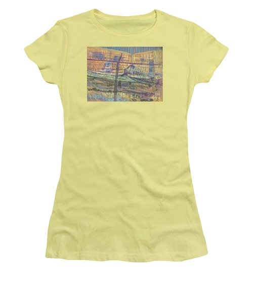 Women's T-Shirt (Junior Cut) featuring the painting Secured Planes by Donald Maier