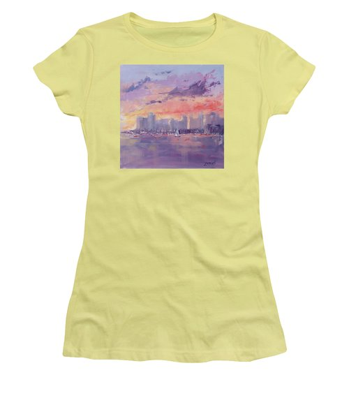 Setting Sun Over Boston  Women's T-Shirt (Junior Cut) by Laura Lee Zanghetti