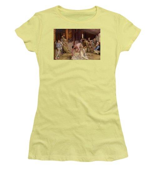 Shearing The Rams  Women's T-Shirt (Junior Cut) by Tom Roberts
