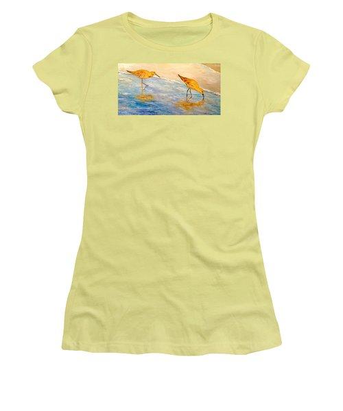 Women's T-Shirt (Junior Cut) featuring the painting Shore Patrol by Alan Lakin