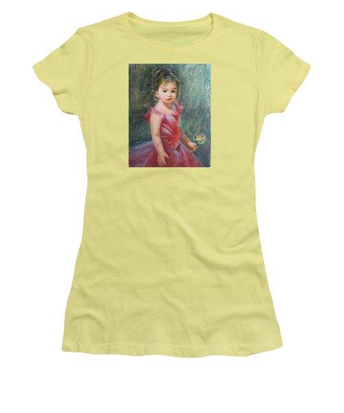Women's T-Shirt (Junior Cut) featuring the painting Shy Rose by Jieming Wang