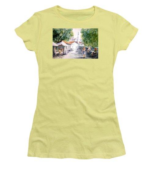 Women's T-Shirt (Junior Cut) featuring the painting Siesta In Bozcaada... by Faruk Koksal