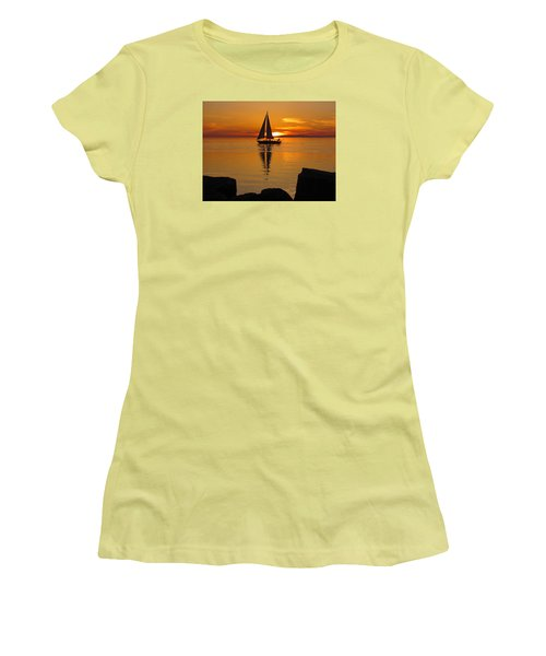 Sister Bay Sunset Sail 2 Women's T-Shirt (Junior Cut) by David T Wilkinson